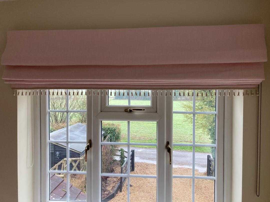 Pale Pink Laura Ashley Bacall Blush Roman Blinds with champagne trim
